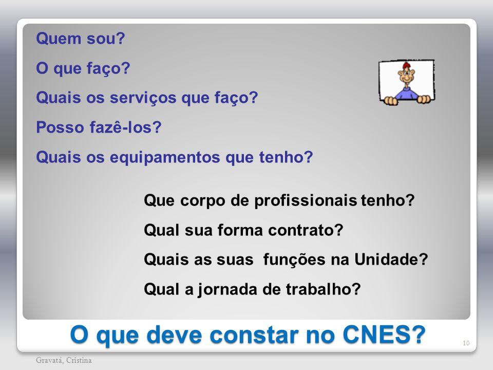 O que deve constar no CNES? 10 Gravatá, Cristina Que corpo de profissionais tenho? Qual sua forma contrato? Quais as suas funções na Unidade? Qual a j