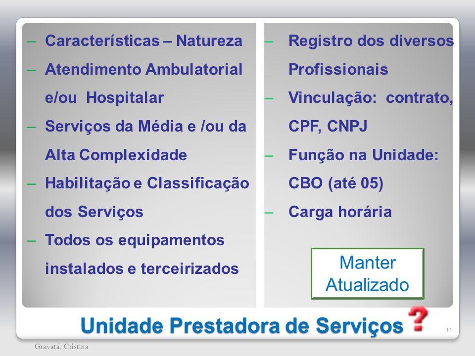 Unidade Prestadora de Serviços 11 Gravatá, Cristina – Características – Natureza – Atendimento Ambulatorial e/ou Hospitalar – Serviços da Média e /ou