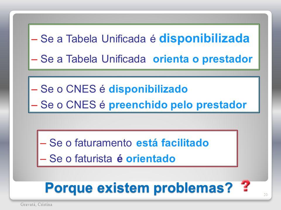 Porque existem problemas? 20 Gravatá, Cristina – Se a Tabela Unificada é disponibilizada – Se a Tabela Unificada orienta o prestador – Se o CNES é dis