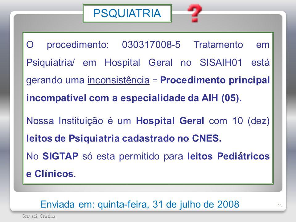 33 Gravatá, Cristina Enviada em: quinta-feira, 31 de julho de 2008 O procedimento: 030317008-5 Tratamento em Psiquiatria/ em Hospital Geral no SISAIH0