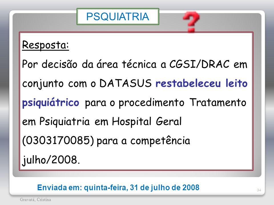 34 Gravatá, Cristina Enviada em: quinta-feira, 31 de julho de 2008 Resposta: Por decisão da área técnica a CGSI/DRAC em conjunto com o DATASUS restabe