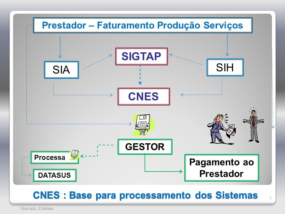 CNES : Base para processamento dos Sistemas 5 Gravatá, Cristina SIGTAP SIA SIH CNES GESTOR DATASUS Pagamento ao Prestador Prestador – Faturamento Prod