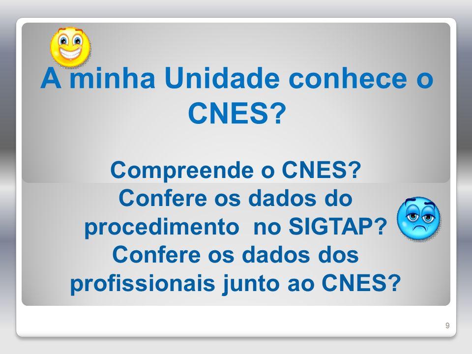 A minha Unidade conhece o CNES? Compreende o CNES? Confere os dados do procedimento no SIGTAP? Confere os dados dos profissionais junto ao CNES? 9