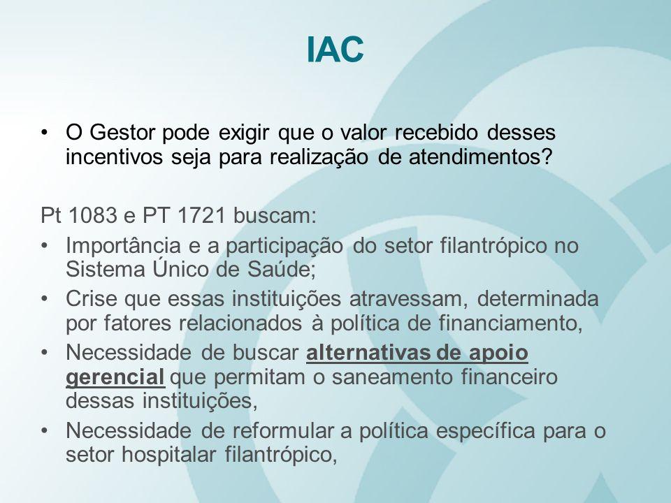 IAC O Gestor pode exigir que o valor recebido desses incentivos seja para realização de atendimentos? Pt 1083 e PT 1721 buscam: Importância e a partic