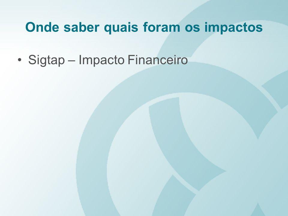 Onde saber quais foram os impactos Sigtap – Impacto Financeiro