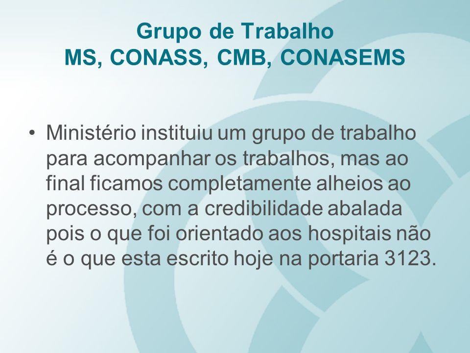 Grupo de Trabalho MS, CONASS, CMB, CONASEMS Ministério instituiu um grupo de trabalho para acompanhar os trabalhos, mas ao final ficamos completamente