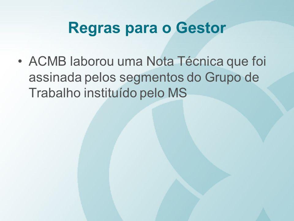Regras para o Gestor ACMB laborou uma Nota Técnica que foi assinada pelos segmentos do Grupo de Trabalho instituído pelo MS