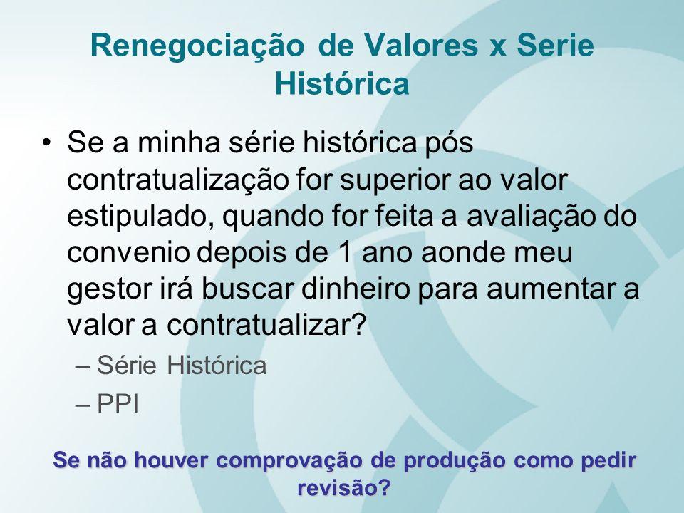 Renegociação de Valores x Serie Histórica Se a minha série histórica pós contratualização for superior ao valor estipulado, quando for feita a avaliaç