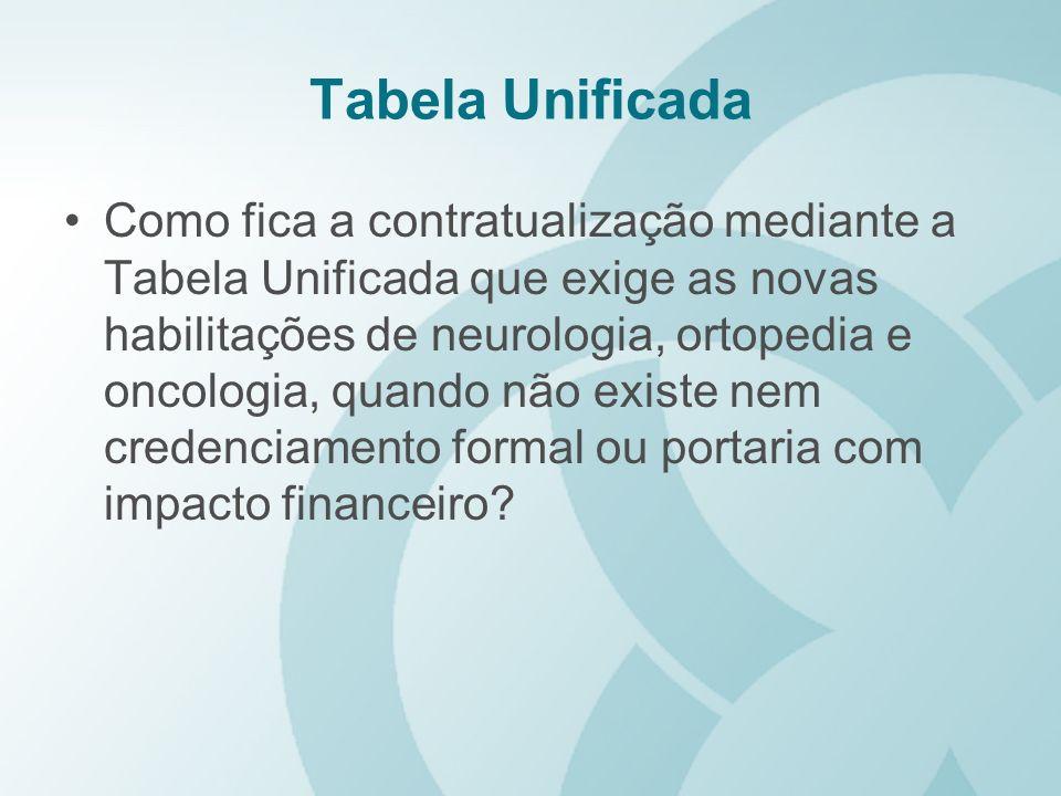 Tabela Unificada Como fica a contratualização mediante a Tabela Unificada que exige as novas habilitações de neurologia, ortopedia e oncologia, quando
