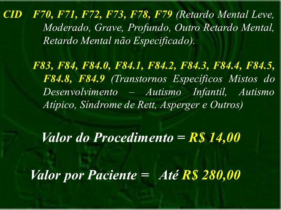CIDF70, F71, F72, F73, F78, F79 (Retardo Mental Leve, Moderado, Grave, Profundo, Outro Retardo Mental, Retardo Mental não Especificado). F83, F84, F84