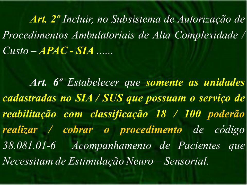 Art. 2º Incluir, no Subsistema de Autorização de Procedimentos Ambulatoriais de Alta Complexidade / Custo – APAC - SIA...... Art. 6º Estabelecer que s