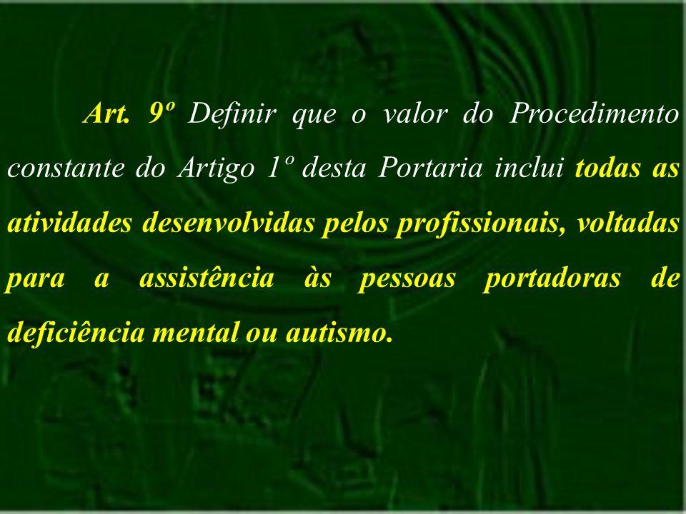 Art. 9º Definir que o valor do Procedimento constante do Artigo 1º desta Portaria inclui todas as atividades desenvolvidas pelos profissionais, voltad