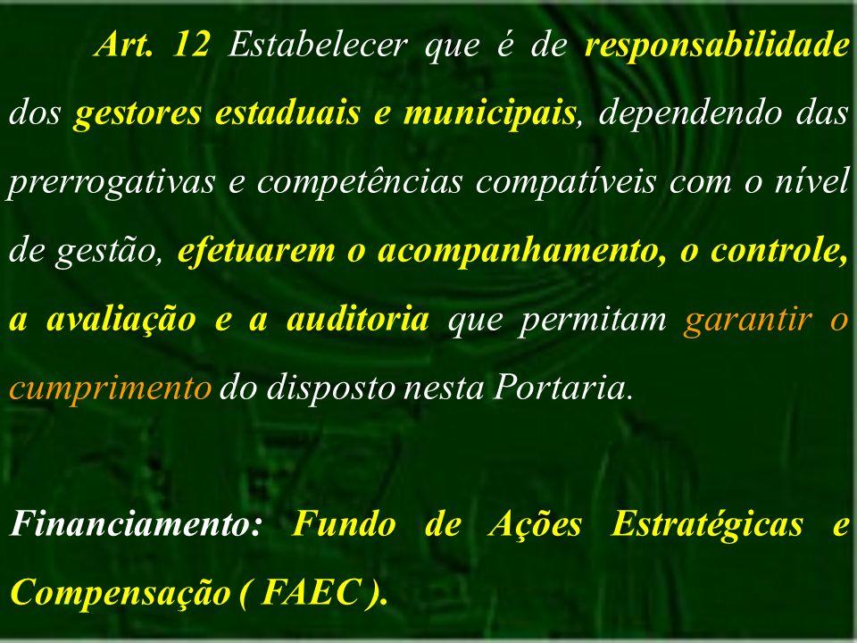 Art. 12 Estabelecer que é de responsabilidade dos gestores estaduais e municipais, dependendo das prerrogativas e competências compatíveis com o nível