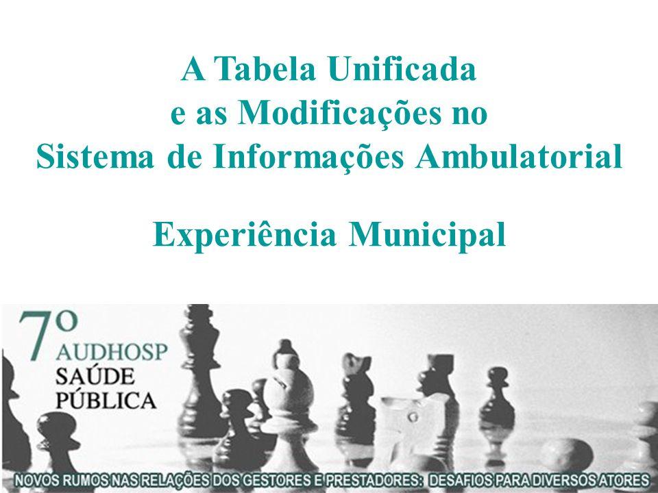 A Tabela Unificada e as Modificações no Sistema de Informações Ambulatorial Experiência Municipal