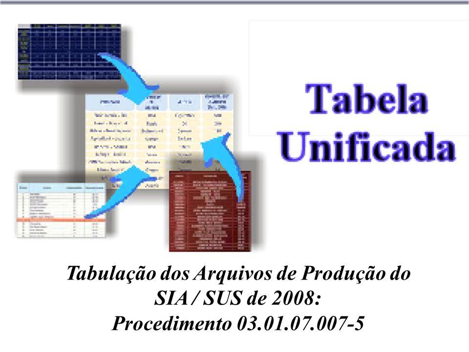 Tabulação dos Arquivos de Produção do SIA / SUS de 2008: Procedimento 03.01.07.007-5