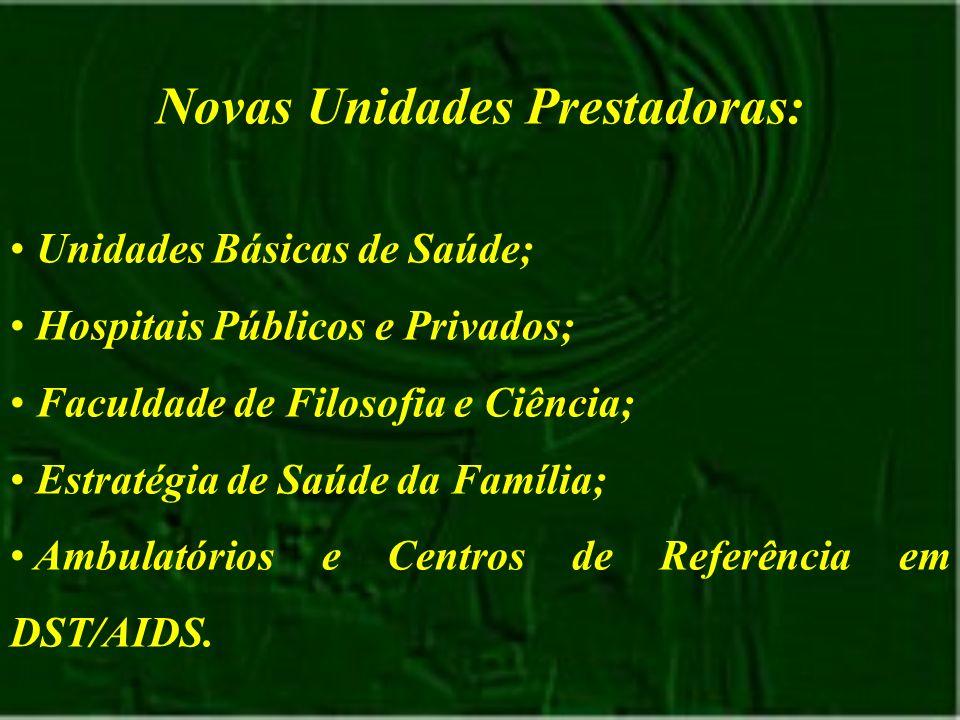 Novas Unidades Prestadoras: Unidades Básicas de Saúde; Hospitais Públicos e Privados; Faculdade de Filosofia e Ciência; Estratégia de Saúde da Família