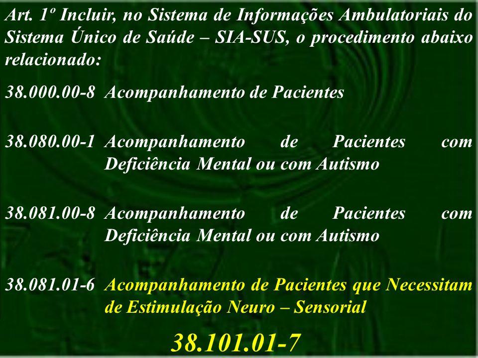 38.000.00-8Acompanhamento de Pacientes 38.080.00-1Acompanhamento de Pacientes com Deficiência Mental ou com Autismo 38.081.00-8Acompanhamento de Pacie