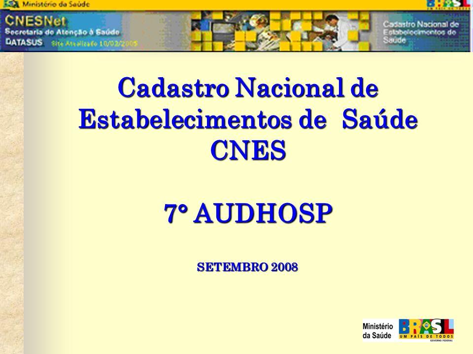Cadastro Nacional de Estabelecimentos de Saúde CNES 7° AUDHOSP SETEMBRO 2008