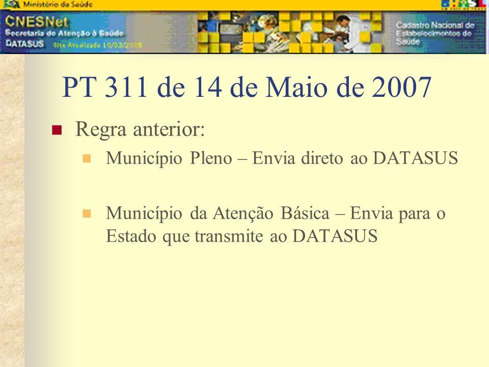 PT 311 de 14 de Maio de 2007 Regra anterior: Município Pleno – Envia direto ao DATASUS Município da Atenção Básica – Envia para o Estado que transmite