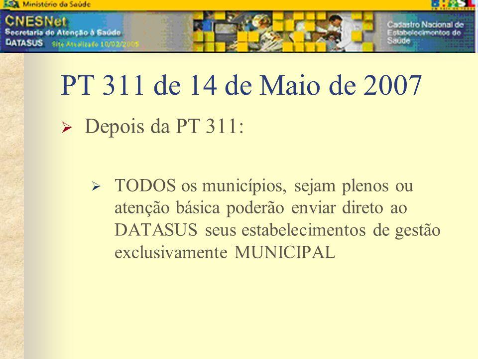 PT 311 de 14 de Maio de 2007 Depois da PT 311: TODOS os municípios, sejam plenos ou atenção básica poderão enviar direto ao DATASUS seus estabelecimen
