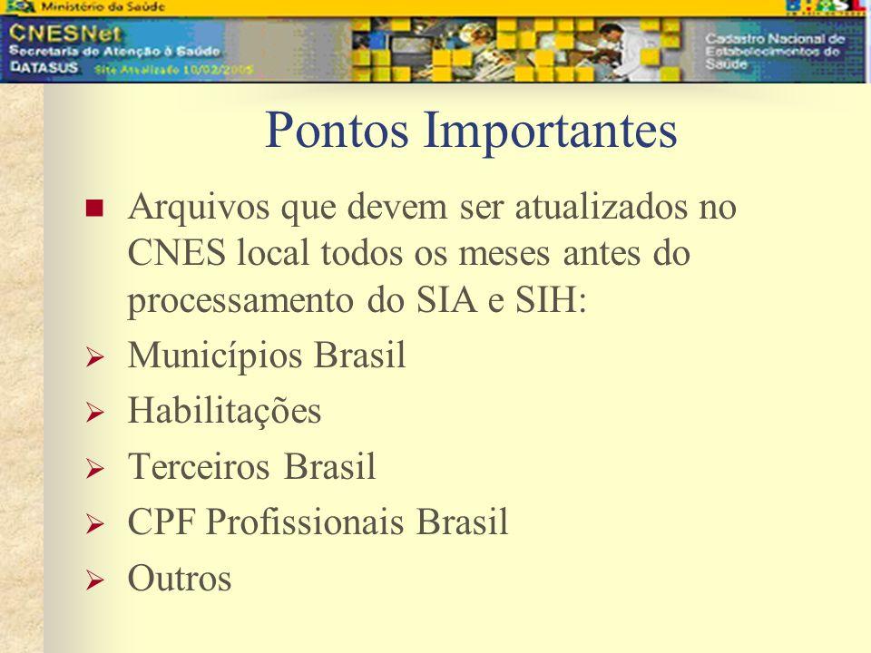 Arquivos que devem ser atualizados no CNES local todos os meses antes do processamento do SIA e SIH: Municípios Brasil Habilitações Terceiros Brasil C
