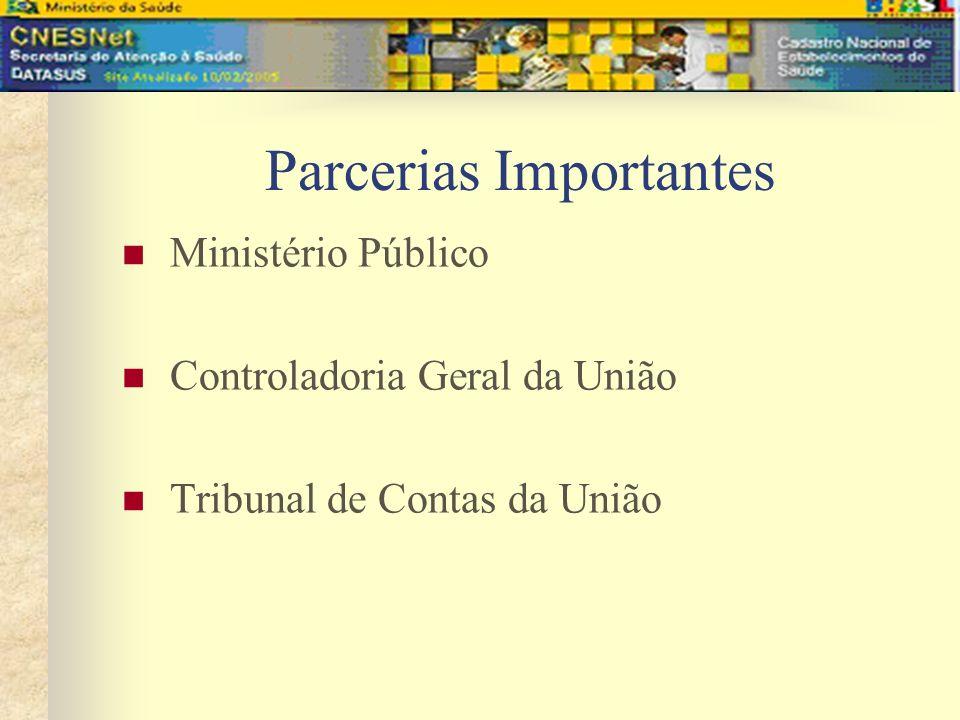 Parcerias Importantes Ministério Público Controladoria Geral da União Tribunal de Contas da União