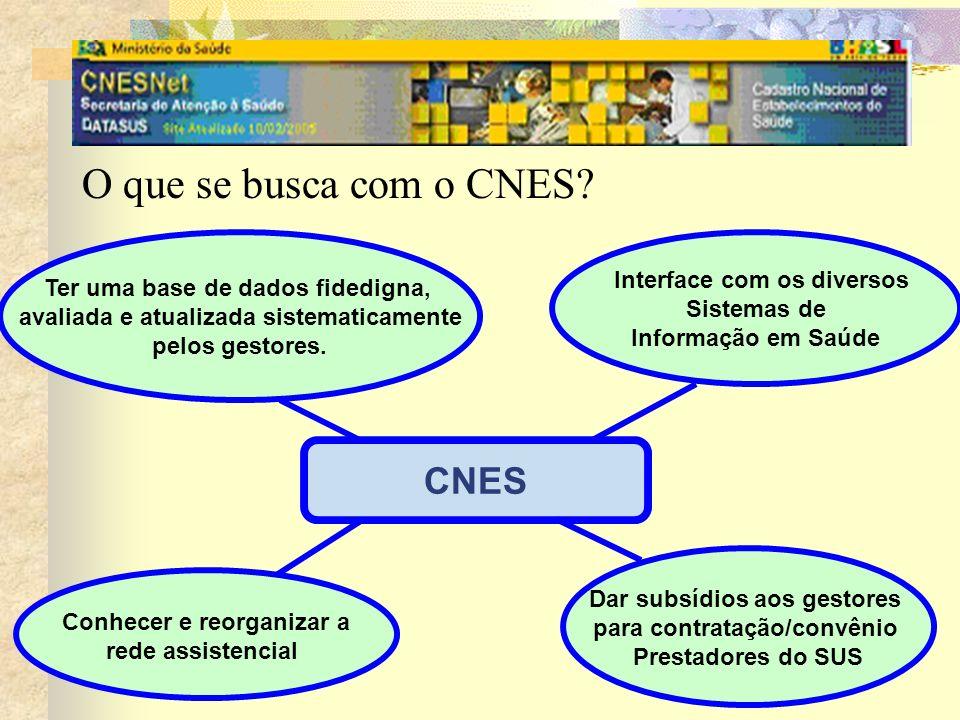 O que se busca com o CNES? CNES Conhecer e reorganizar a rede assistencial Interface com os diversos Sistemas de Informação em Saúde Dar subsídios aos