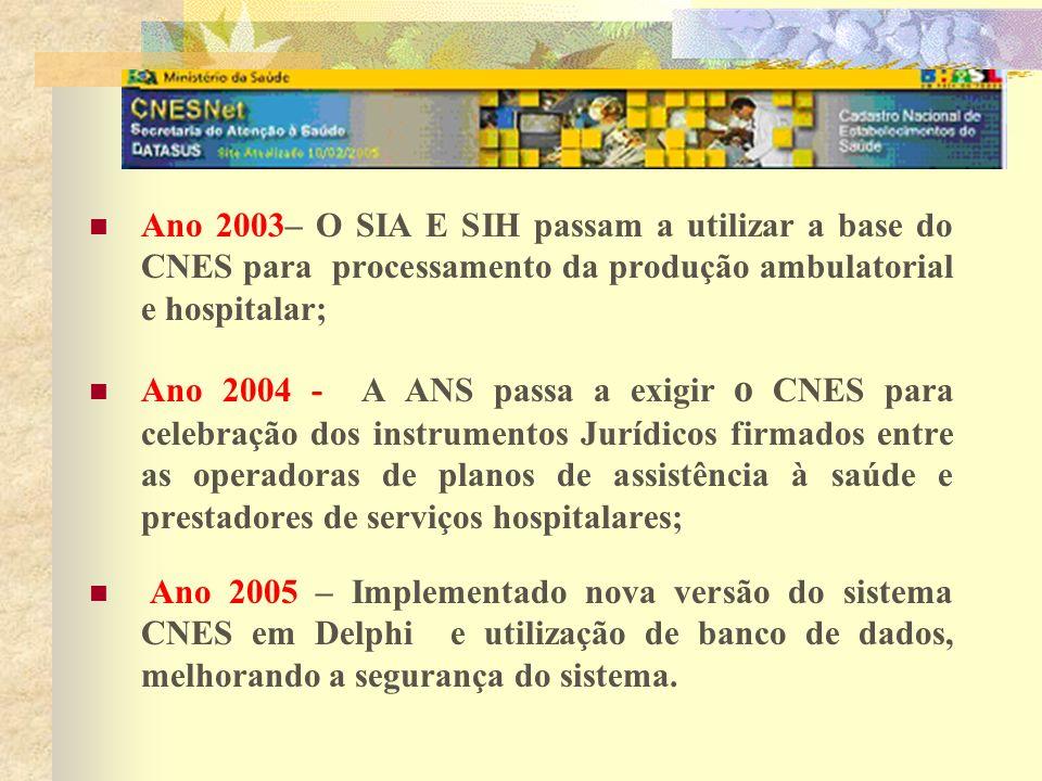 Ano 2003– O SIA E SIH passam a utilizar a base do CNES para processamento da produção ambulatorial e hospitalar; Ano 2004 - A ANS passa a exigir o CNE
