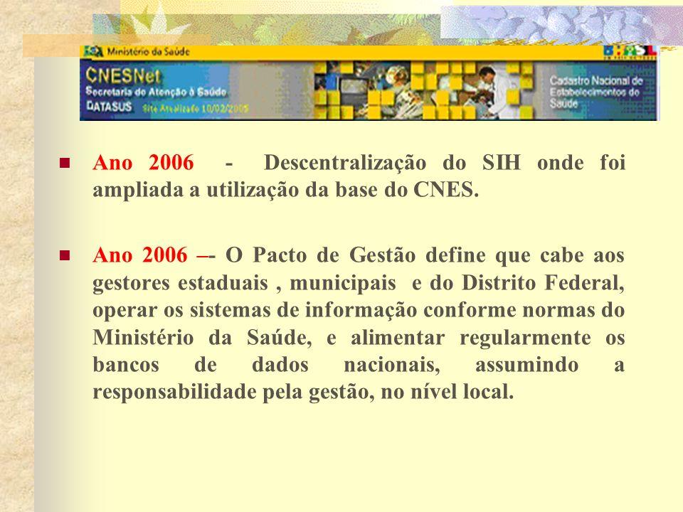 Ano 2006 - Descentralização do SIH onde foi ampliada a utilização da base do CNES. Ano 2006 –- O Pacto de Gestão define que cabe aos gestores estaduai