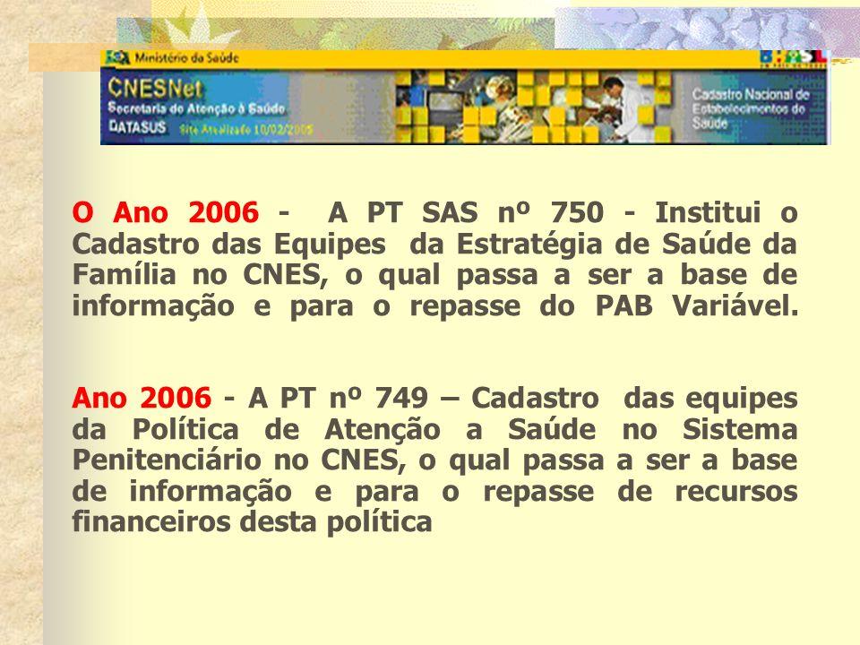 O Ano 2006 - A PT SAS nº 750 - Institui o Cadastro das Equipes da Estratégia de Saúde da Família no CNES, o qual passa a ser a base de informação e pa