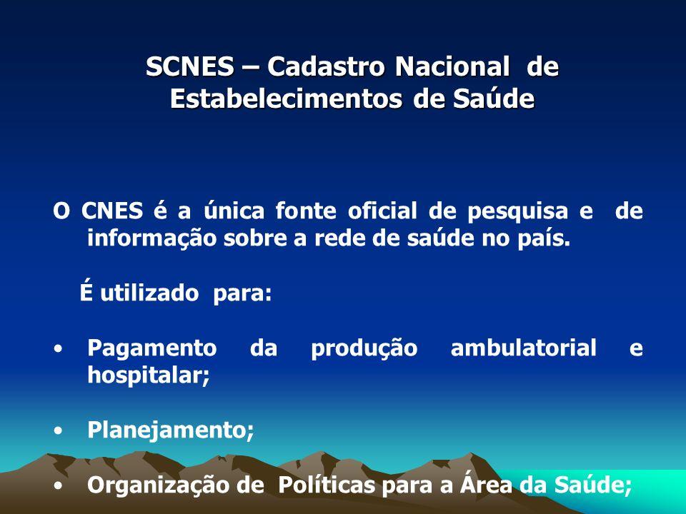 SCNES – Cadastro Nacional de Estabelecimentos de Saúde O CNES é a única fonte oficial de pesquisa e de informação sobre a rede de saúde no país.