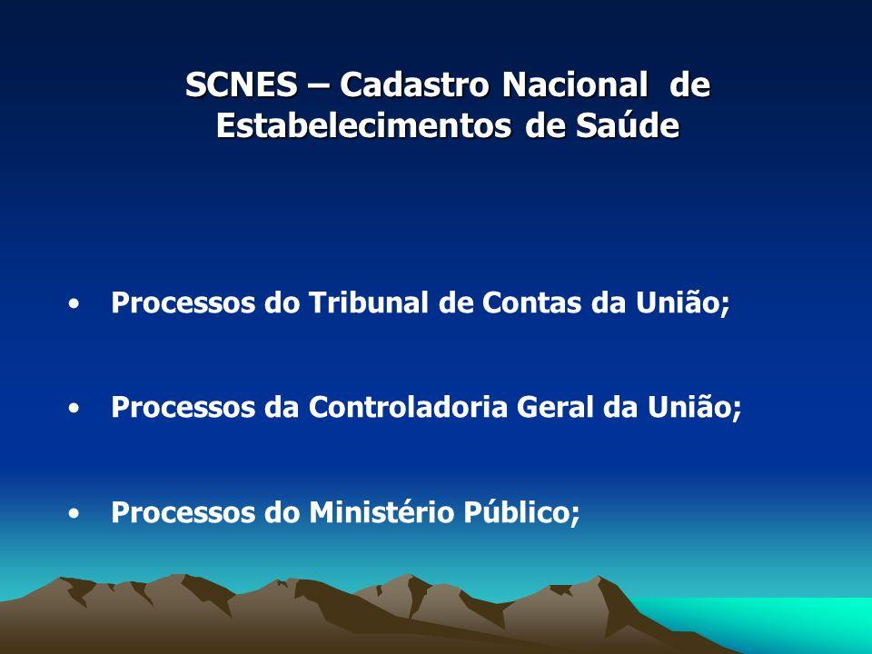 SCNES – Cadastro Nacional de Estabelecimentos de Saúde Processos do Tribunal de Contas da União; Processos da Controladoria Geral da União; Processos do Ministério Público;