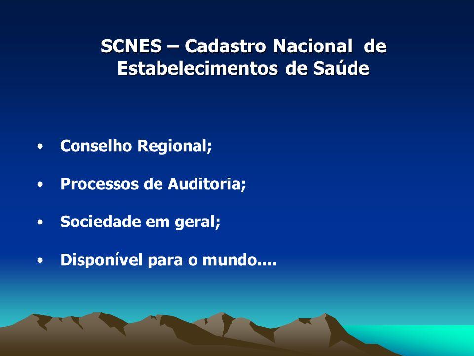 SCNES – Cadastro Nacional de Estabelecimentos de Saúde Conselho Regional; Processos de Auditoria; Sociedade em geral; Disponível para o mundo....