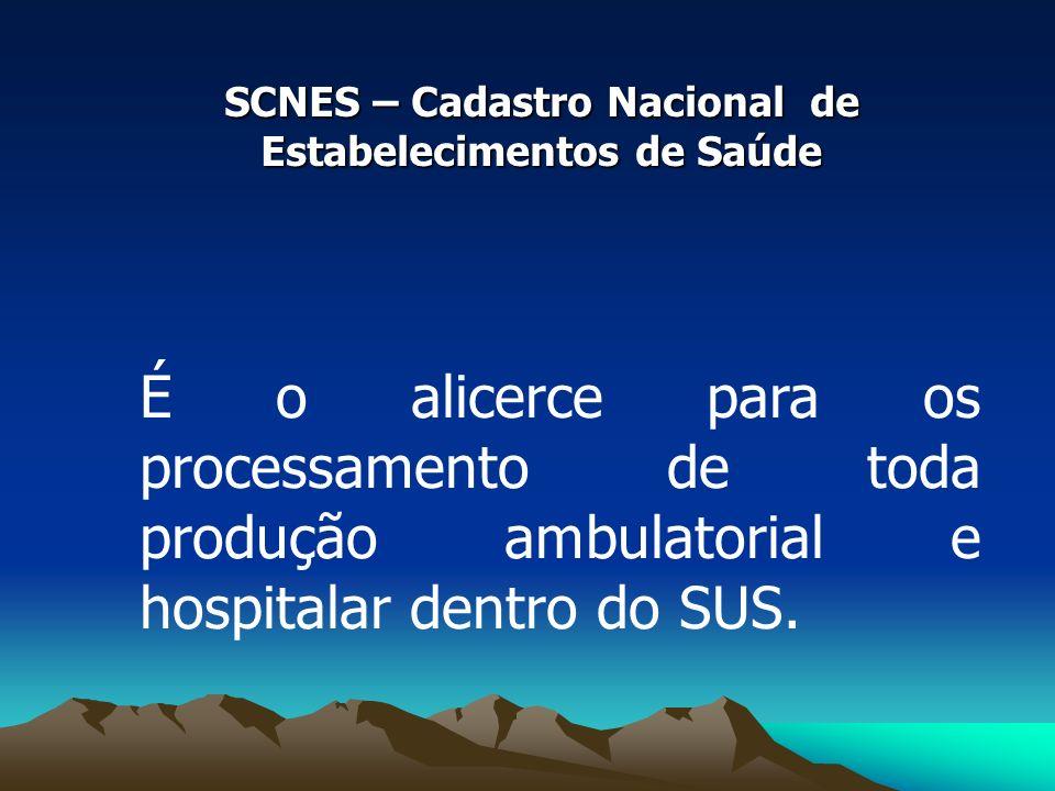 SCNES – Cadastro Nacional de Estabelecimentos de Saúde É o alicerce para os processamento de toda produção ambulatorial e hospitalar dentro do SUS.