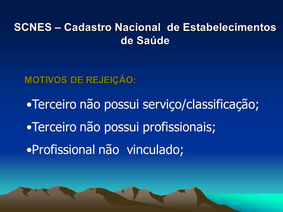 SCNES – Cadastro Nacional de Estabelecimentos de Saúde Terceiro não possui serviço/classificação; Terceiro não possui profissionais; Profissional não vinculado; MOTIVOS DE REJEIÇÃO: