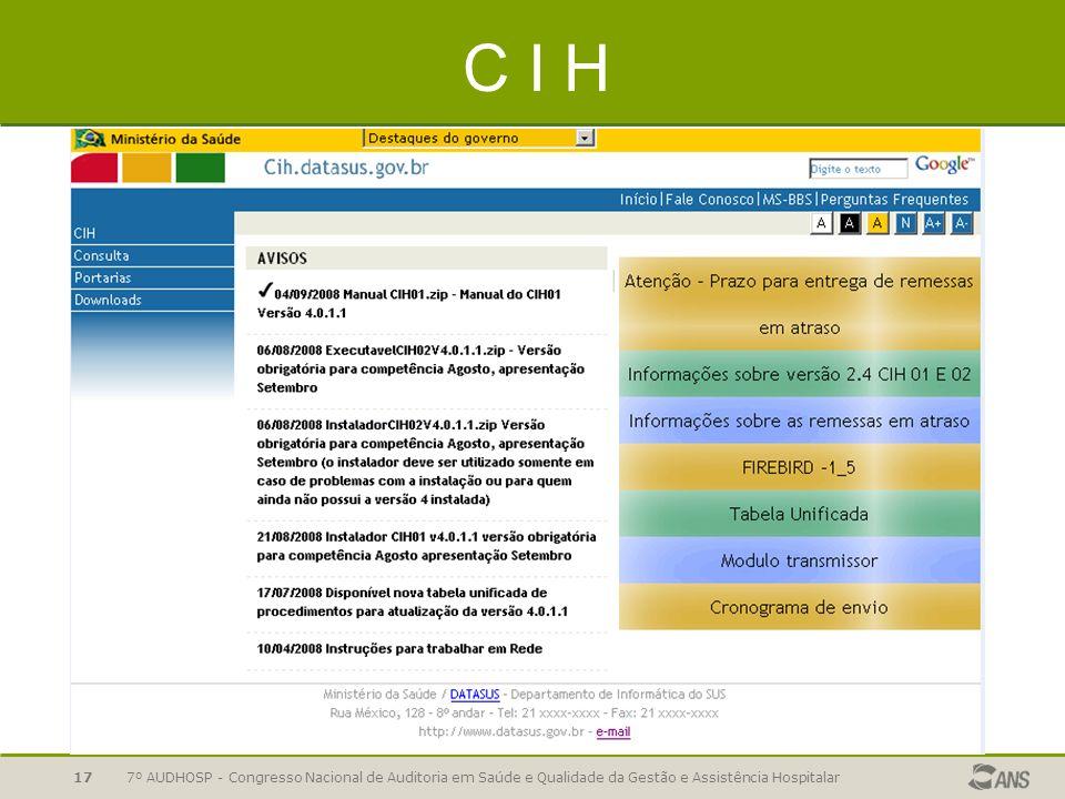 7º AUDHOSP - Congresso Nacional de Auditoria em Saúde e Qualidade da Gestão e Assistência Hospitalar17 C I H