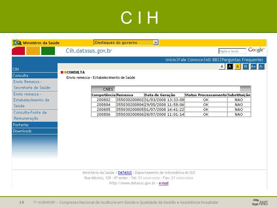 7º AUDHOSP - Congresso Nacional de Auditoria em Saúde e Qualidade da Gestão e Assistência Hospitalar19 C I H