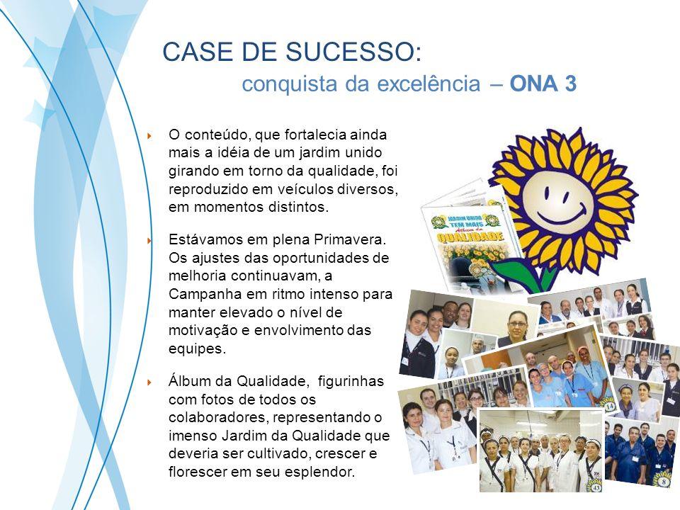 CASE DE SUCESSO: A conquista da excelência – ONA 3 O conteúdo, que fortalecia ainda mais a idéia de um jardim unido girando em torno da qualidade, foi