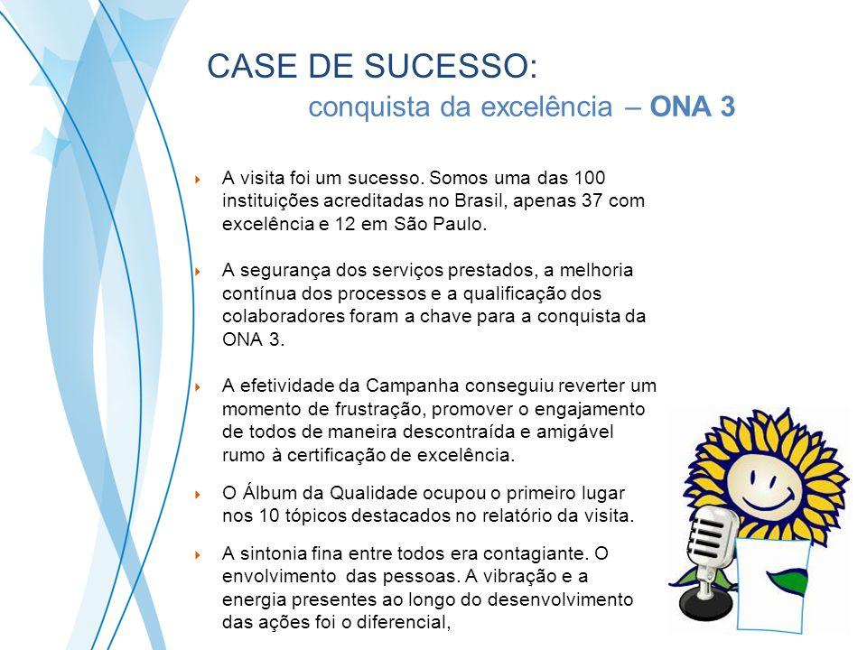 A visita foi um sucesso. Somos uma das 100 instituições acreditadas no Brasil, apenas 37 com excelência e 12 em São Paulo. A segurança dos serviços pr