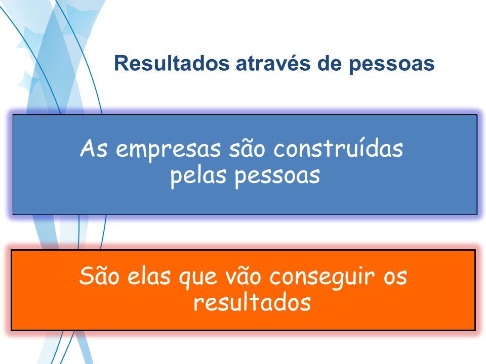 São elas que vão conseguir os resultados As empresas são construídas pelas pessoas As empresas são construídas pelas pessoas Resultados através de pes