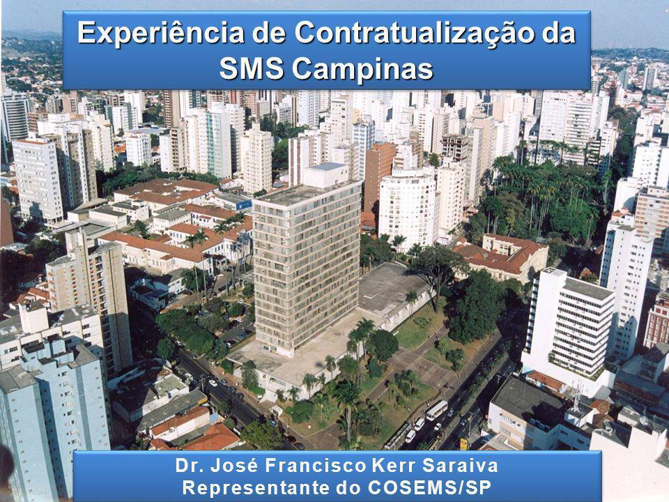CAMPINAS População : ~1.100.000 habitantes ESTRUTURA DO SUS CAMPINAS: Rede própria: 5 Distritos de Saúde (~ 200.000 habitantes); 49 Unidades Básicas de Saúde; 3 Policlínicas (28 especialidades); 4 Unidades de Pronto Atendimento – SAMU; 2Hospital Municipal (Dr.