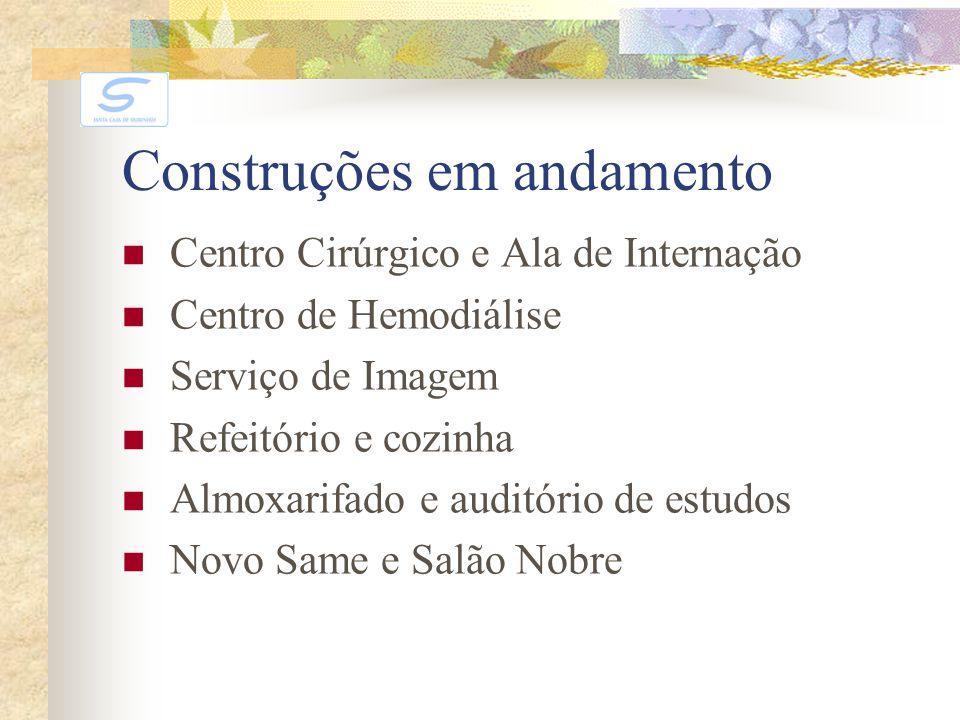 Construções em andamento Centro Cirúrgico e Ala de Internação Centro de Hemodiálise Serviço de Imagem Refeitório e cozinha Almoxarifado e auditório de