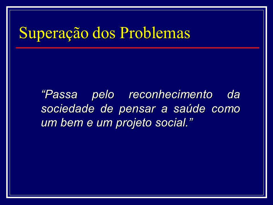 Superação dos Problemas Passa pelo reconhecimento da sociedade de pensar a saúde como um bem e um projeto social.