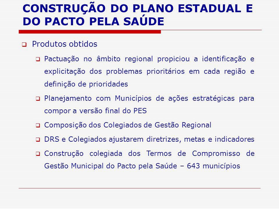Produtos obtidos Pactuação no âmbito regional propiciou a identificação e explicitação dos problemas prioritários em cada região e definição de priori