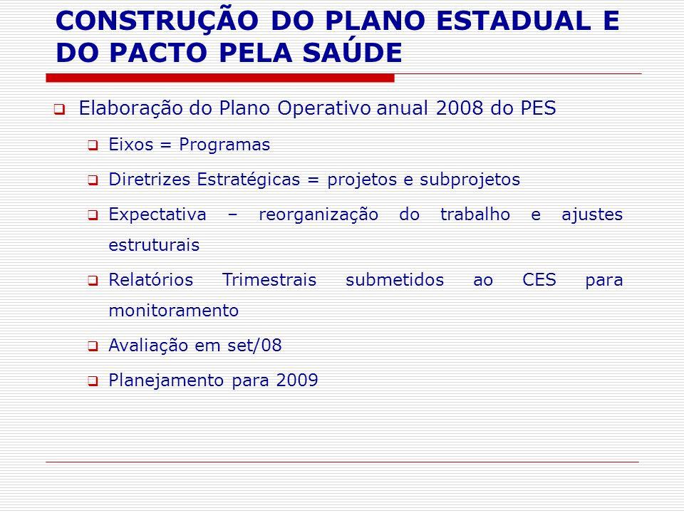 Elaboração do Plano Operativo anual 2008 do PES Eixos = Programas Diretrizes Estratégicas = projetos e subprojetos Expectativa – reorganização do trab