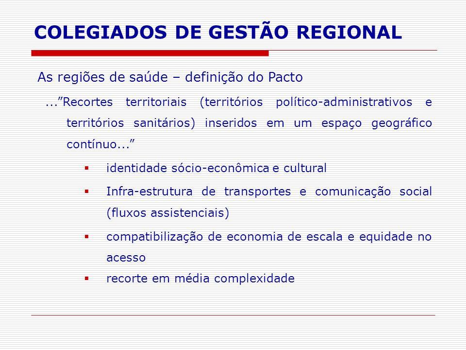 COLEGIADOS DE GESTÃO REGIONAL As regiões de saúde – definição do Pacto...Recortes territoriais (territórios político-administrativos e territórios san
