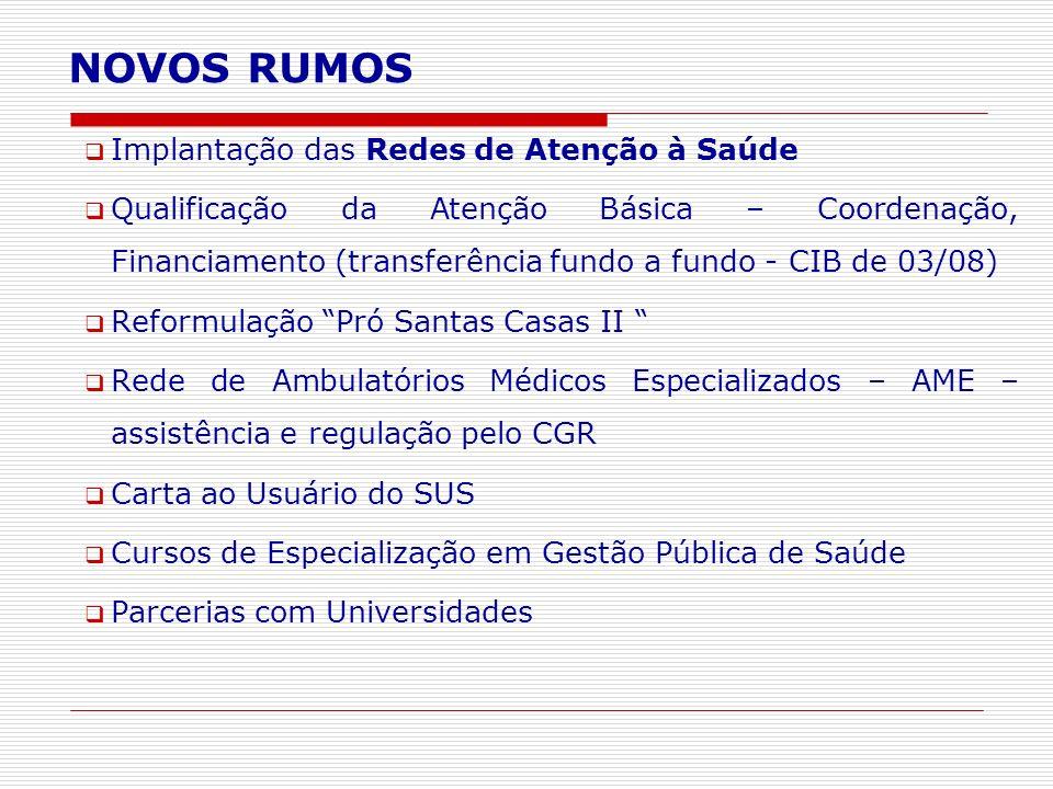 Implantação das Redes de Atenção à Saúde Qualificação da Atenção Básica – Coordenação, Financiamento (transferência fundo a fundo - CIB de 03/08) Refo