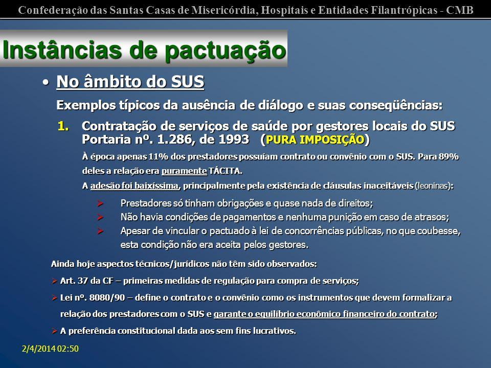 Confederação das Santas Casas de Misericórdia, Hospitais e Entidades Filantrópicas - CMB 2/4/2014 02:52 Institui diretrizes para contratação de serviços assistenciais no âmbito do Sistema Único de Saúde.
