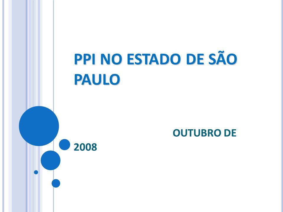 PPI NO ESTADO DE SÃO PAULO PPI NO ESTADO DE SÃO PAULO OUTUBRO DE 2008
