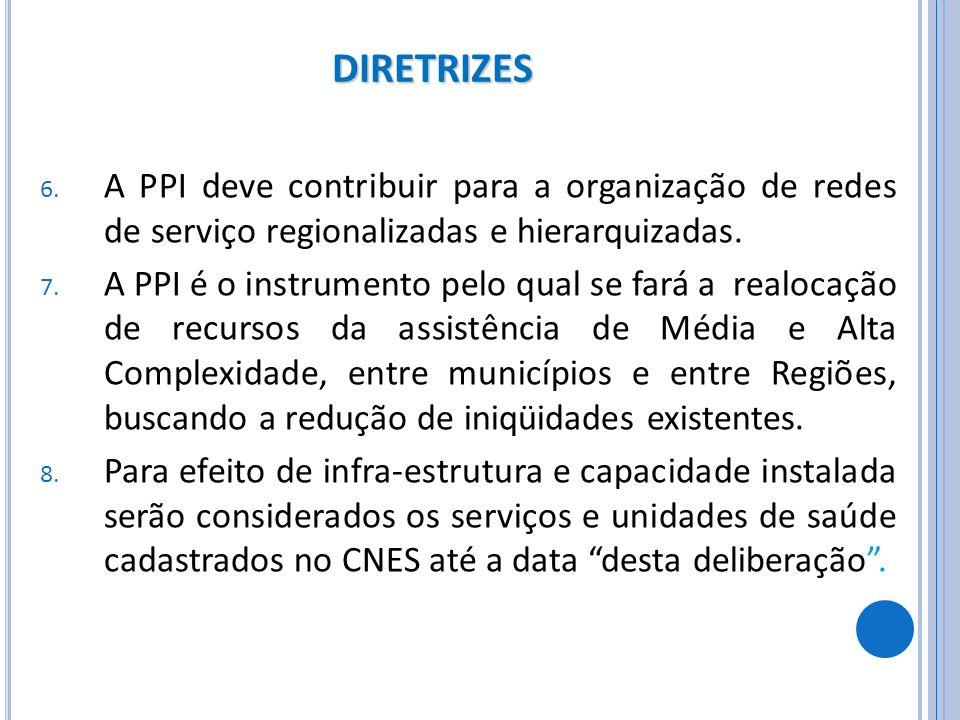DIRETRIZES 6. A PPI deve contribuir para a organização de redes de serviço regionalizadas e hierarquizadas. 7. A PPI é o instrumento pelo qual se fará